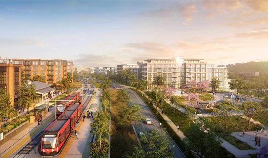 rendering of transit-oriented development, The Riverwalk